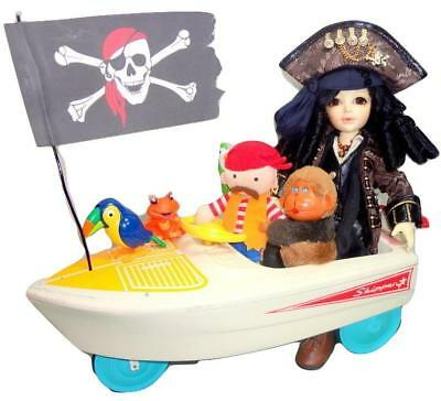 PIRATE LIFE Domuya 30cm Resin BJD Doll Heart Outfit Pedal Boat Treasure Pets Gun