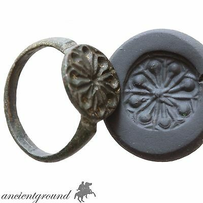 Museum Quality Post Medieval Balkans Bronze Seal Ring Circa 1400 Ad