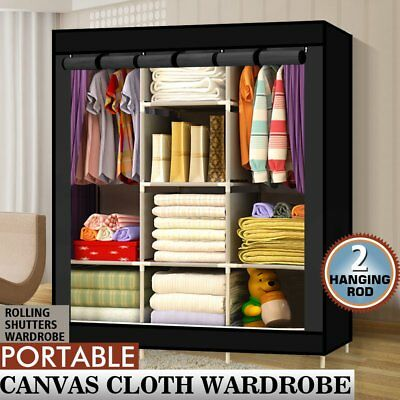 Triple Fabric Canvas Wardrobe Clothes Storage Organiser Cabinet Cupboard Shelves