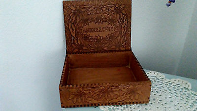 Antique Wooden Handkerchief  Box Flemish Art Box Pyrography wood Box Poinsettias