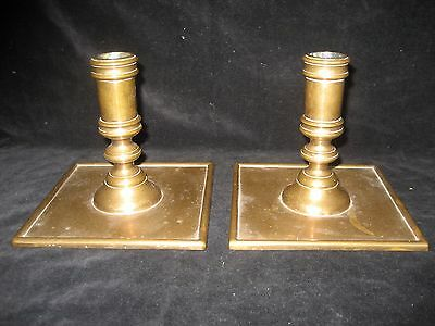 Pair Of Early Brass Candlesticks Signed A.g.barton