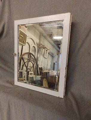 Vtg Industrial Metal Recessed Mount Old Medicine Cabinet Beveled Mirror 213-17P