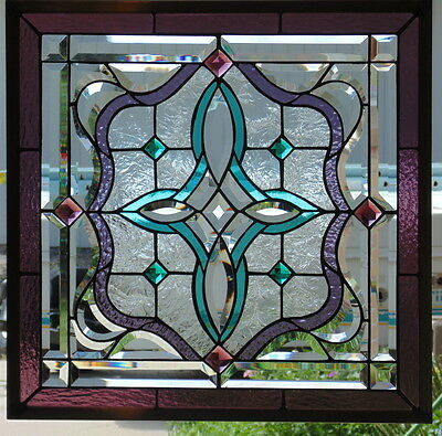 """Stained Glass window beveled jeweled hanging 23"""" Square"""