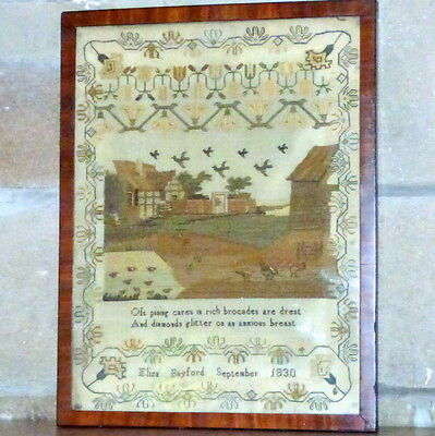 Early 19th Century Silkwork Sampler with Farmyard Scene