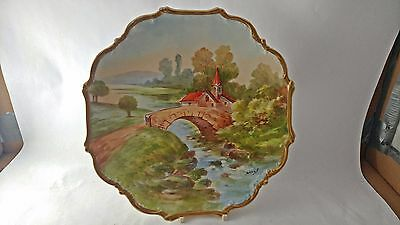 """Handpainted & Signed Limoges France Large 10 1/4"""" Plate - Countryside Bridge"""