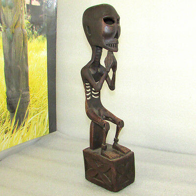 Early Dayak Afterlife Skeleton Figure Hampatong Statue Borneo Carved Hardwood