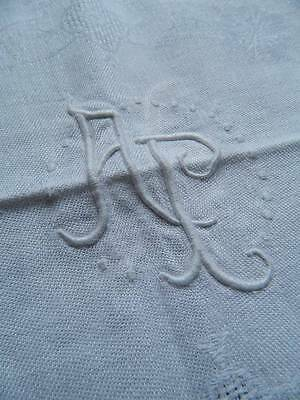"Antique French pure linen damask tablecloth - monogram ""A.P"" - 90"" x 64"""