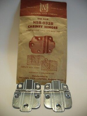 "Vintage NOS CHROME Cabinet Hinges WHITE Lines 3/8"" Offset Art Deco National Lock"