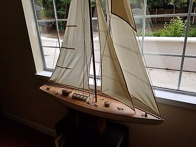 """Vintage America's Cup Yacht, Wooden Boat Model, 48"""" Sailboat, 6' tall,"""
