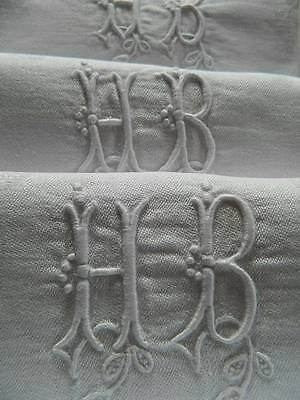 "Antique set 12 French pure linen damask table napkins embroidered monogram ""H.B"""