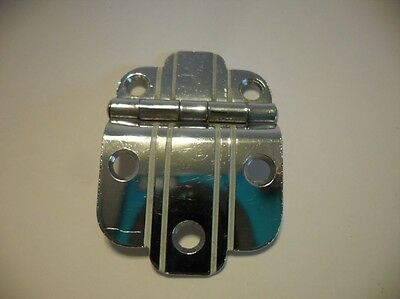 "One Vintage CHROME Cabinet Hinge WHITE Lines 3/8"" Offset Art Deco National Lock"