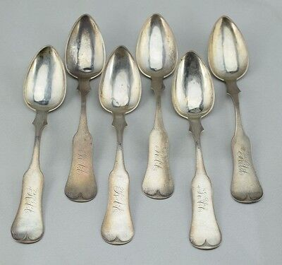 Early American Coin Silver Teaspoon Set of 6 George W McDannold Kentucky