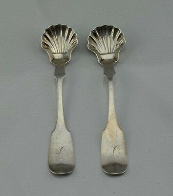 Early American Coin Silver Set of 2 Shell Spoons Lewis Ladomus Philadelphia PA