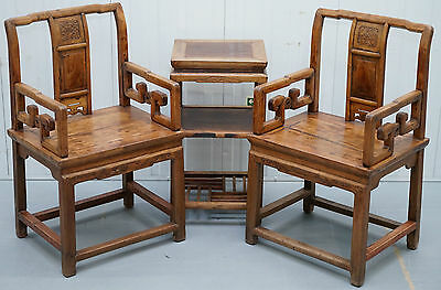 Pair Of Stunning Elm Antique Chinese Chairs With Table Ornate Hand Carved Wood
