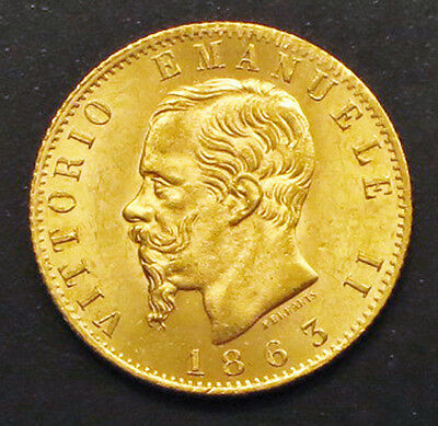 """1863 T-BN,  ITALY 20 Lire Gold Coin  """"XF""""  KM#: 10.1"""