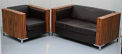Contemporary Leather Rosewood Framed Chrome Feet Sofa Small Armchair Suite