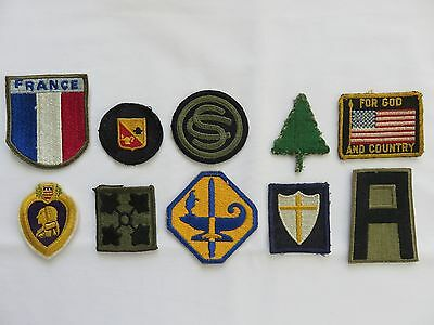LOT OF 10 WW2 WWII VINTAGE Patches 1st Army ~ 91st Division ~ France ~ Others
