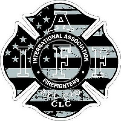 4 Inch Reflective Rustic Subdued IAFF American Flag Sticker Decal