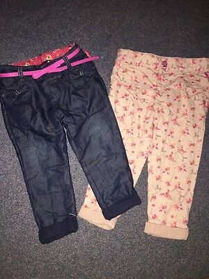 Ted Baker 2 X Girls Chino Trousers Denim & Floral 18-24months