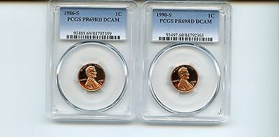 1986-S/1990-S Lincoln Memorial Cents (PR69RD DCAM) PCGS 2 Coins