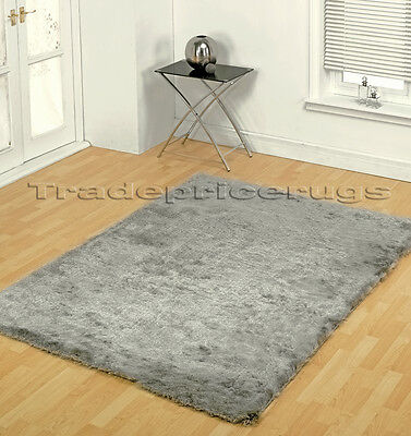 Small - Extra Large Soft Next Shiny Silky Silver Grey Shimmer Luxury Shaggy Rug