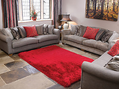 SMALL - X LARGE SOFT CHUNKY THICK 8cm LONG SHAGGY PILE PEARL RICH RED RUG