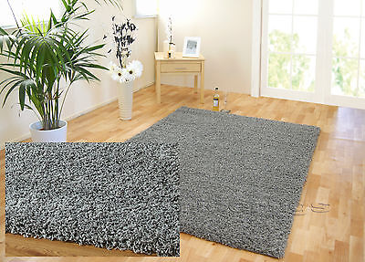 EXTRA LARGE THICK SILVER GREY SHAGGY PILE THICK STRAND RUG 200x290cm
