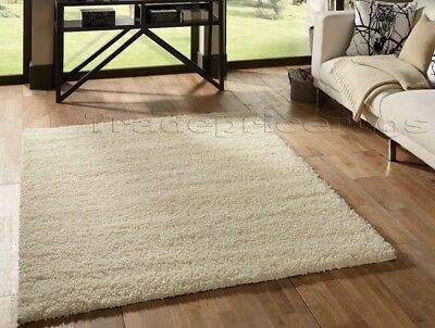 Small - Extra Large Cream /Ivory White Thick Soft Shaggy Non-Shed Modern Rug Mat
