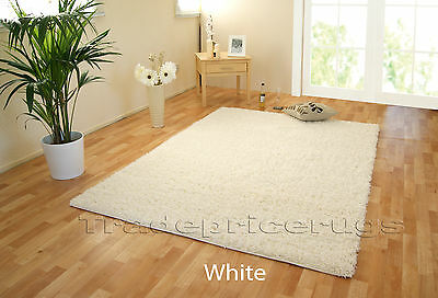 Small - Extra Large White Thick Pile Plain Modern Non-Shed Soft Shaggy Rug