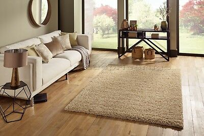 Small - Extra Large Light Gold Beige Thick Soft Pile Non-Shed Shaggy Shag Rugs