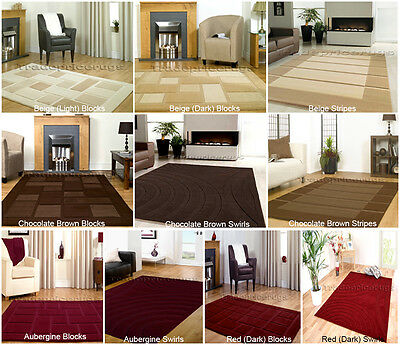 Small- Extra Large Contemporary Dark Brown,Beige,Red,Aubergine Thick Visiona Rug