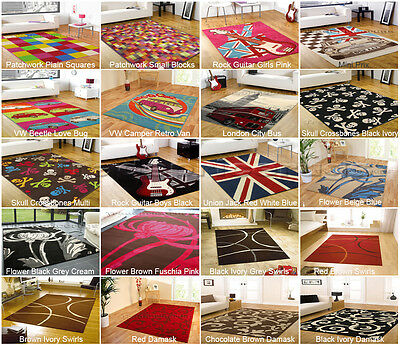 Large & Small Modern Discount Funky Vibrant Rugs, Red Orange Yellow Green Black