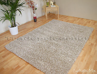 Small - Extra Large Natural Mix Thick Pile Plain Modern Non-Shed Soft Shaggy Rug