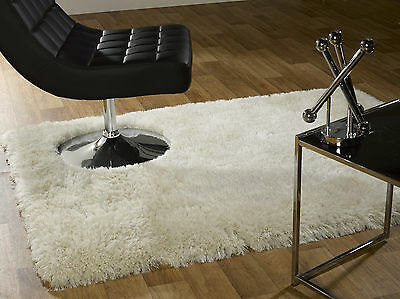 Small Large Soft Chunky Luxury Thick Long 8Cm Pile Shaggy Ivory Cream Pearl Rug