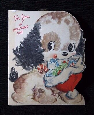Vintage Christmas Greeting Card Mid Century Sweet Puppy Dog with Santa Hat