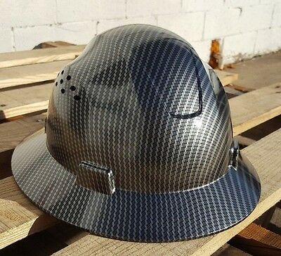 Carbon Fiber Hydrographic Full Brim Hard Hat Added Air Vents ANSI/ISEA Z89.1