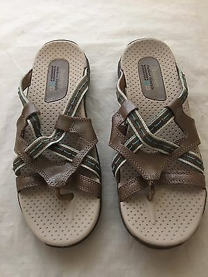 Women's Skechers Slip On Thong Sandals Brown Leather Size 9
