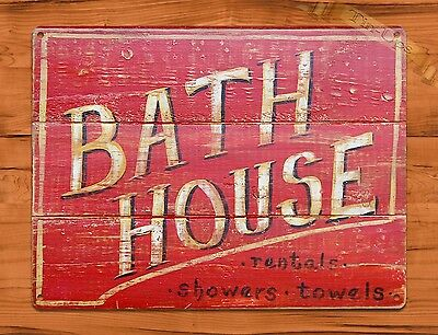 "TIN SIGN ""Bath House"" Vintage Shop Ad Garage Store"