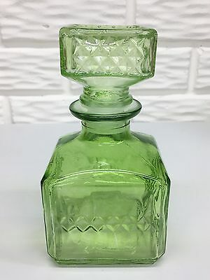 """Vintage Lime Green 6-1/2""""Square Cut 16 oz Decanter Bottle with Matching Stopper"""