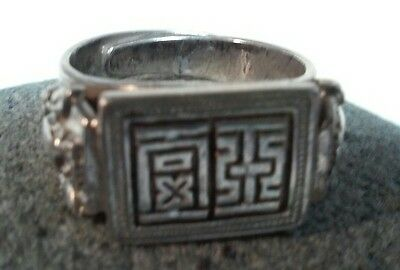 "Antique Chinese Man's Signed Silver Ring "" Luck"" Bats"