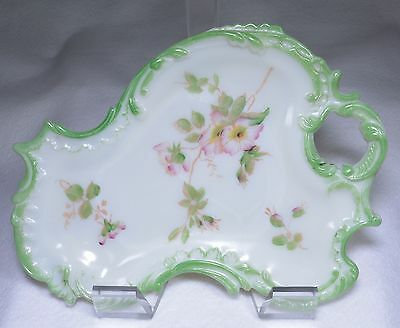 EAPG Victorian Hand Painted Opal Milk Glass Tray