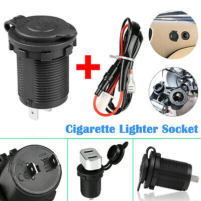 12V Waterproof Car Motorcycle Cigarette Lighter Power Socket Plug Outlet + Wire