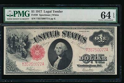 AC Fr 39 1917 $1 Legal Tender PMG 64 EPQ uncirculated !!!