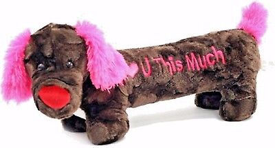 """""""I Love YouThis Much"""" 20"""" Brown Dachshund Doxie Dog Plush Stuffed Animal So Soft"""