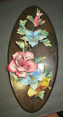 Beautiful Vintage Porcelain Capodimonte on Wood Wall Plaque - Ornate Roses
