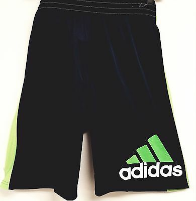 ADIDAS shorts NWT youth athletic Navy blue with bright green stripe size XL18-20