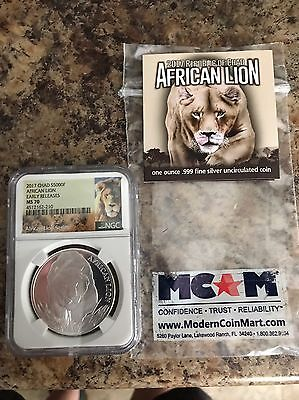 2017 Republic Of Chad $5000 Francs 1 Oz Silver African Lion Ms70 - Early Release