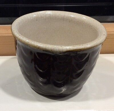 Antique Brown White Stoneware Custard Cup Fishscale Pattern