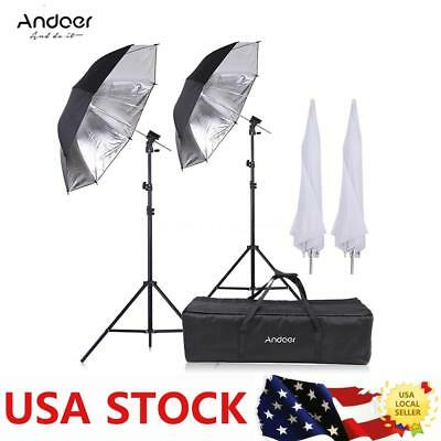 Studio Video Flash Speedlight Shoe Mount Soft Umbrella Kit 2*2m Light Stand Bag
