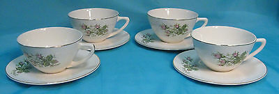 Set of 4 Cups with Saucers Unmarked China Pink Roses